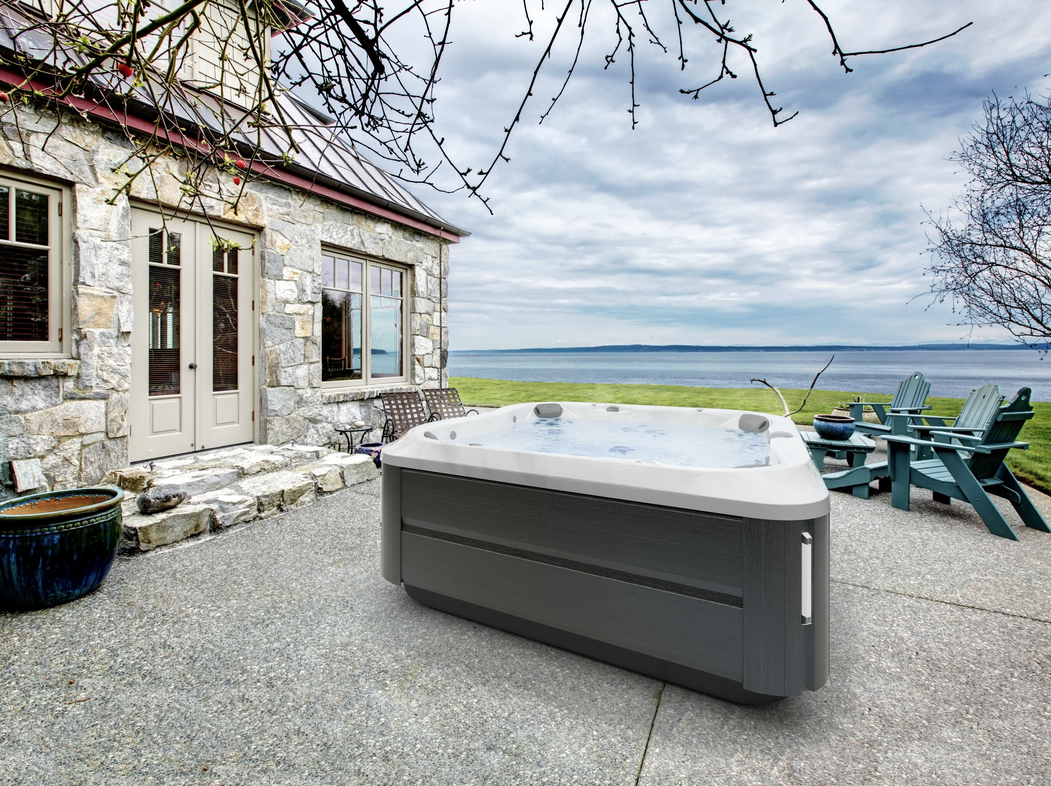 Outdoor hot tub on a deck